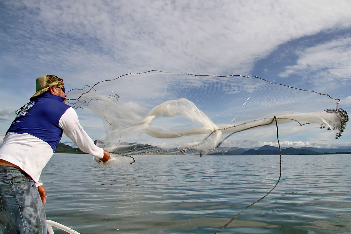 Man casting a fishing net in Panama