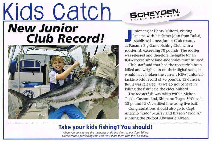 Kids Fishing Club News Article