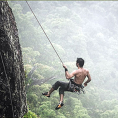 Rock climbing and rappelling in Panama.